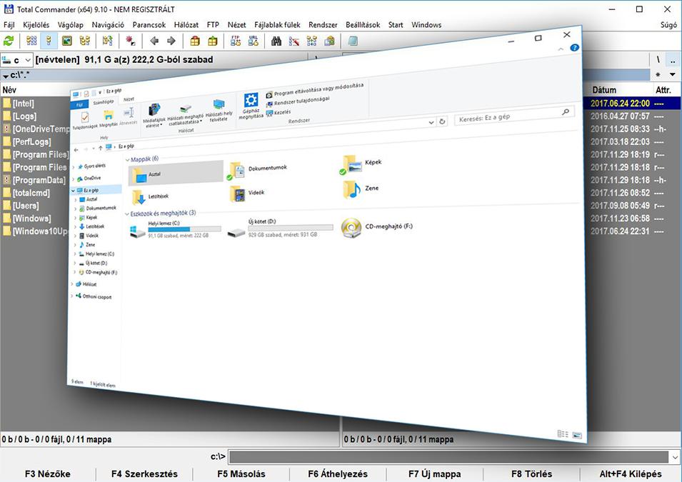 Miért jobb a TotalCommander a Windows fájlkezelőnél.