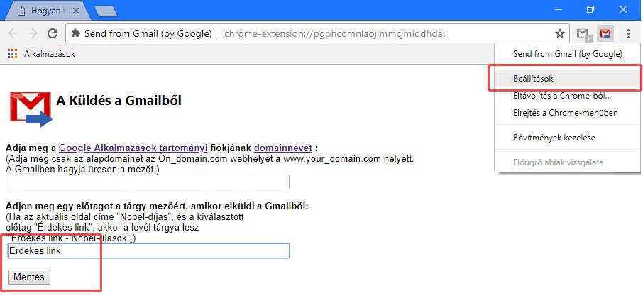 Küldés a Gmailből