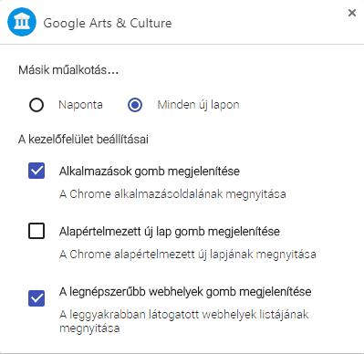 Google Művészet és kultúra bővítmény beállításai