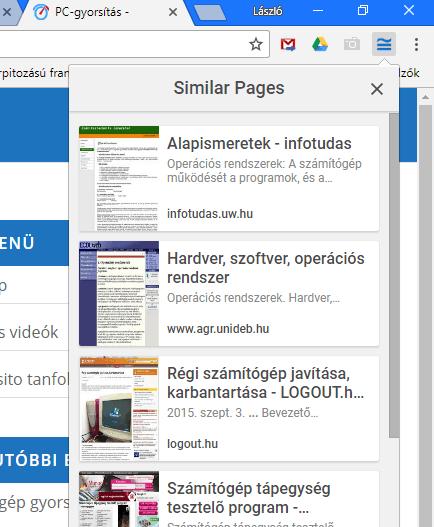 Google Hasonló oldalak bővítmény