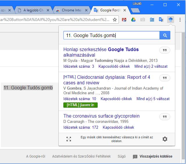 Google Tudós gomb