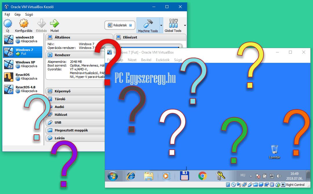A VirtualBox vezérlő beállításai