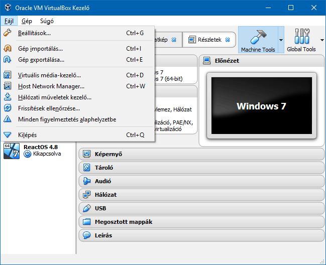 A VirtualBox Fájl menüpontja