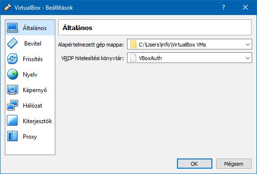 A VirtualBox Általános beállítások ablaka