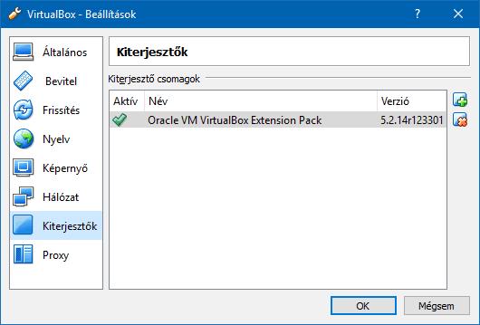 A VirtualBox Beállítások Kiterjesztések menüpontja