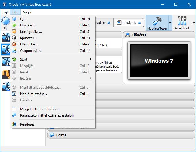 A VirtualBox Gép menüpontja